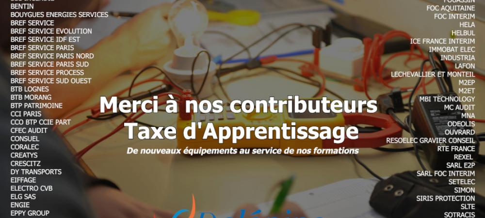Affiche indiquant nos remerciements et la liste des contributeurs taxe d'apprentissage 2020 qui ont versé au CFA Delépine, en fond un élève travaille sur un réseau électrique relié à une ampoule allumée.